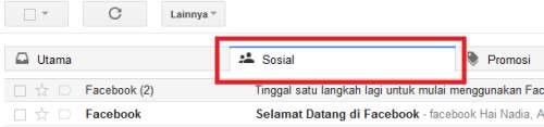 Cari pemberitahuan pendaftaran dari facebook pada akun SOSIAL