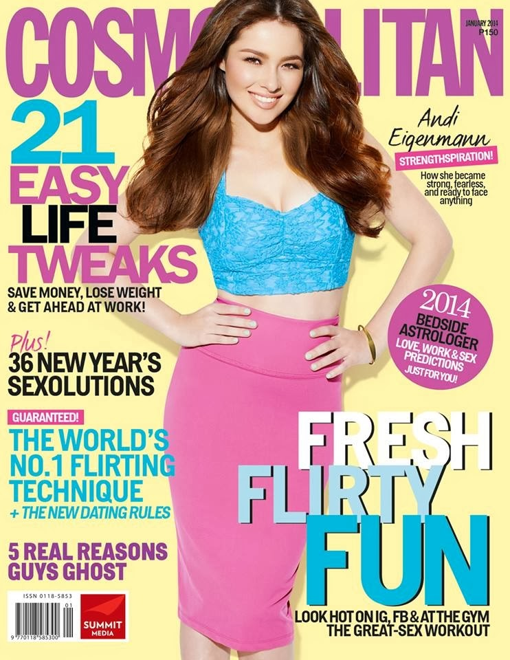 Magazine Cover : Andi Eigenmann Photoshot For Bj Pascual Cosmopolitan Magazine Philippines January 2014 Issue