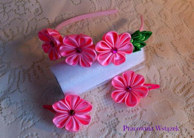 Opaska ze spineczkami, różowy komplet.