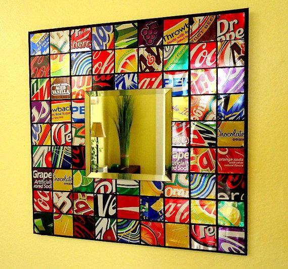 Mek it yo 39 self recycled soda can mosaic tile mirror for Diy beer can art