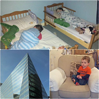 62 Buckingham Gate, twins in toddler beds, and the cheeky toddler
