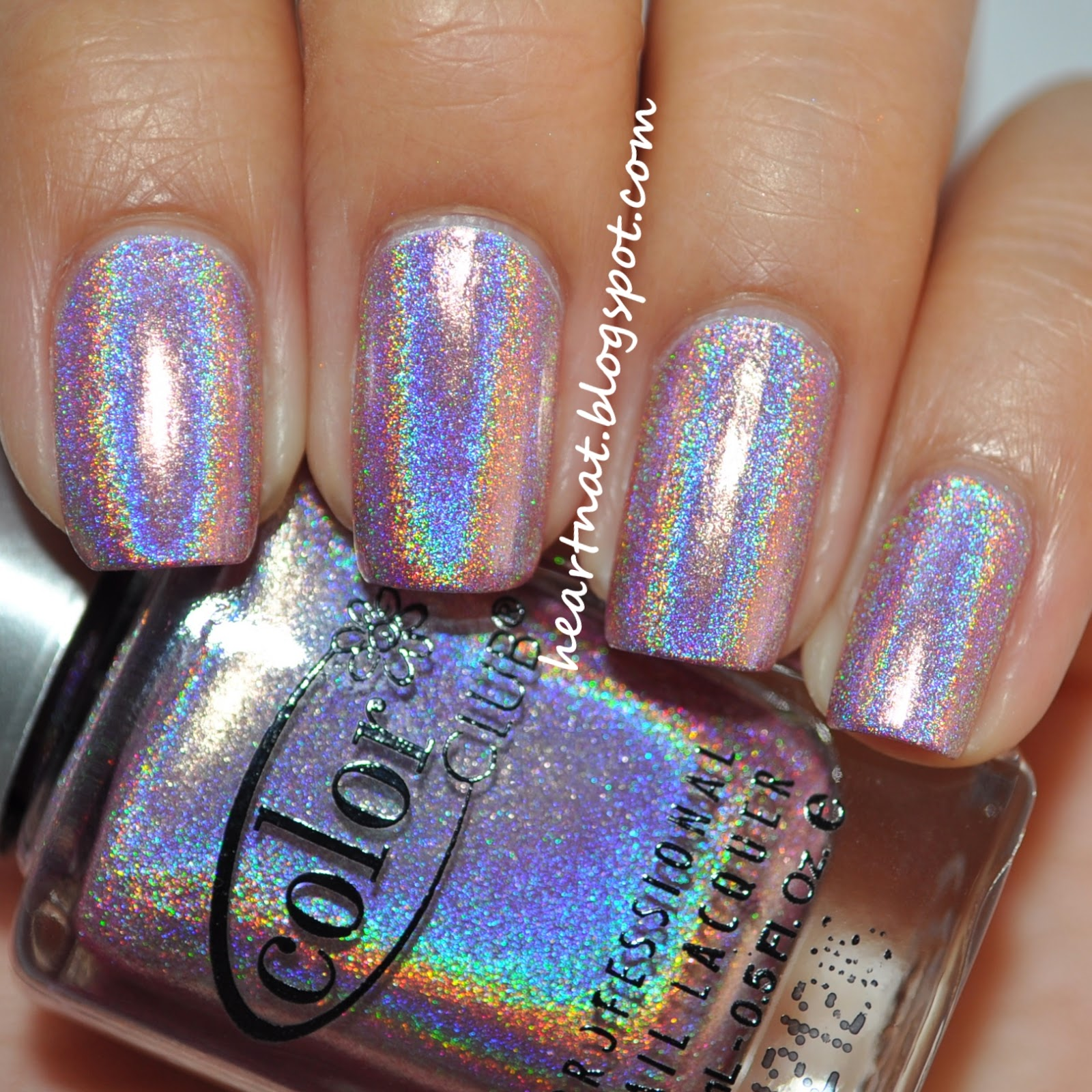 Color Club Holographic Nail Polish Swatches: Heartnat: Color Club Halo Hues Collection Swatches