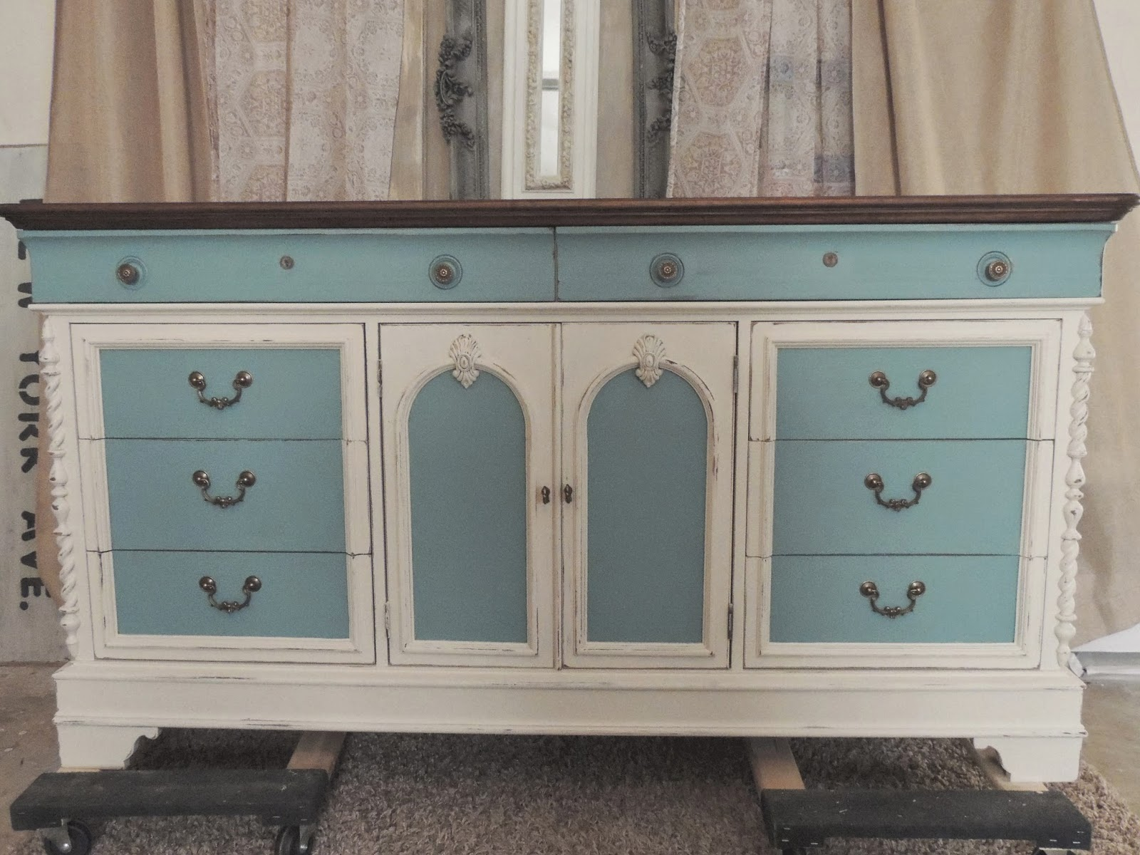 blue and cream chalk painted dresser