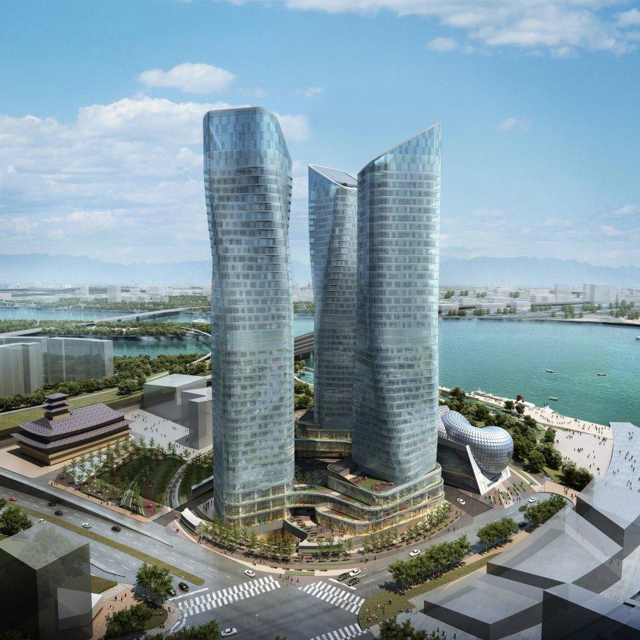 towers dancing korea seoul daniel studio libeskind international district yongsan tower korean architecture buildings three yibd skyscrapers
