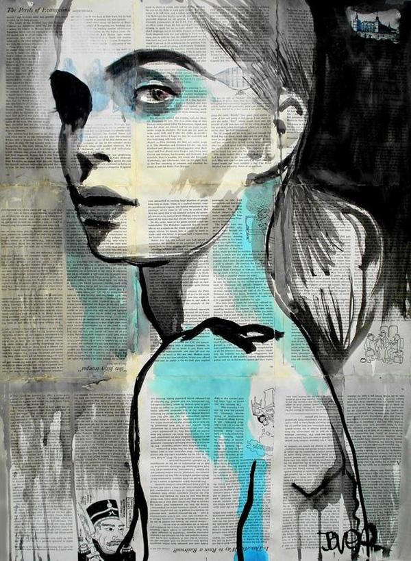 Pintura de una mujer blanco y negro