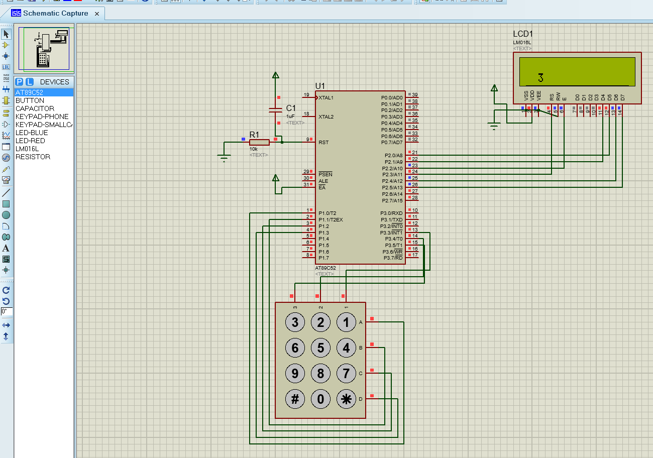 Emerging Technologies Keypad Interfacing With 8051at89s52 Proteus Circuit Simulation