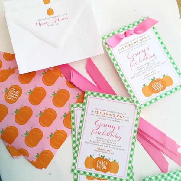 Monogrammed Pumpkin Birthday
