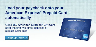 When you make 2 direct deposits of $250 or more, onto your American Express Prepaid Card, you will receive a $50 American Express Gift Card
