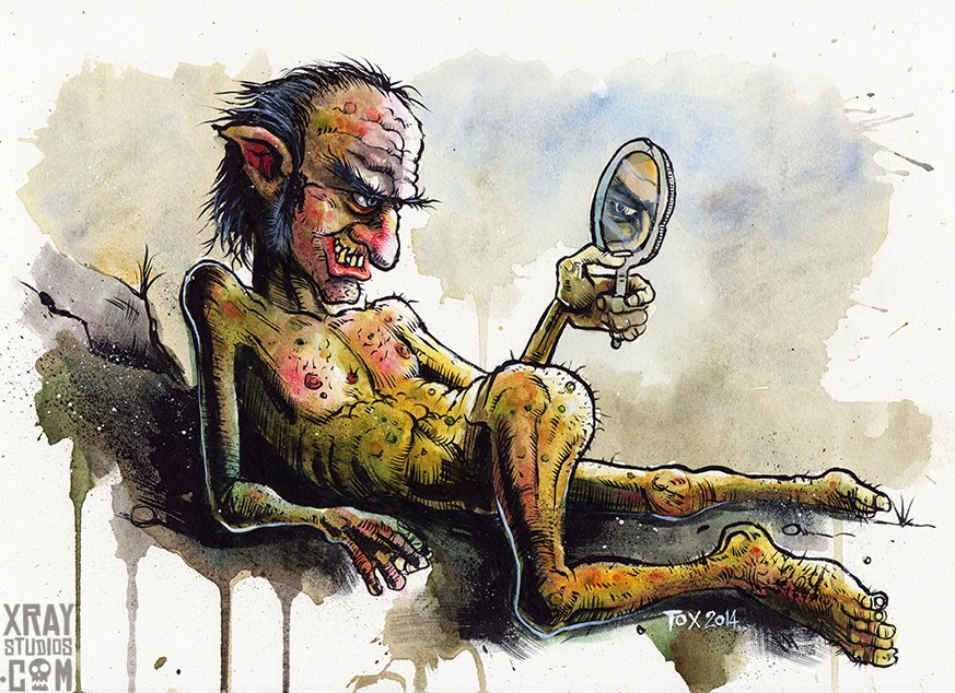 """Troll is Pleased With Itself"" ink and watercolour illustration by Mike Foxall www.xraystudios.com"