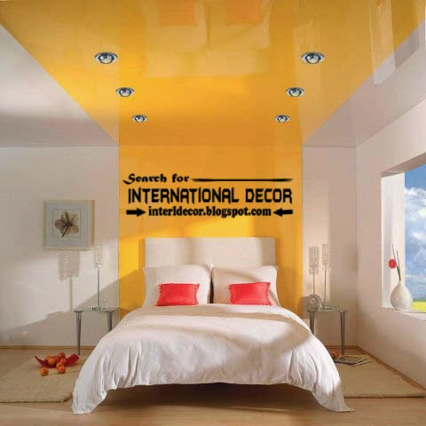 stretch ceilings in the interior of modern apartment, yellow stretch ceiling for modern bedroom