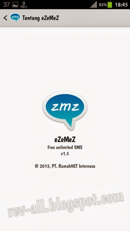 Tentang aplikasi eZeMeS - gratis SMS menggunakan hp android dengan internet (rev-all.blogspot.com)