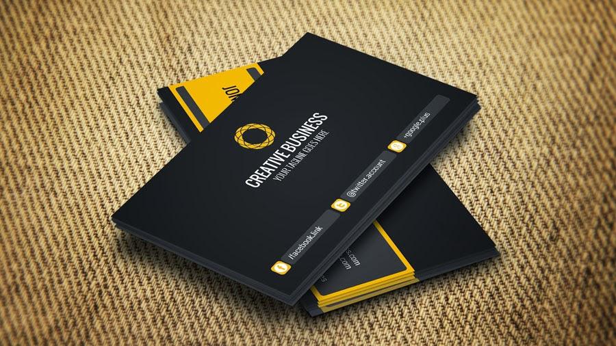 كرت شخصى او بطاقة اعمال باللون (الاسود مع الاصفر ) business cards templates