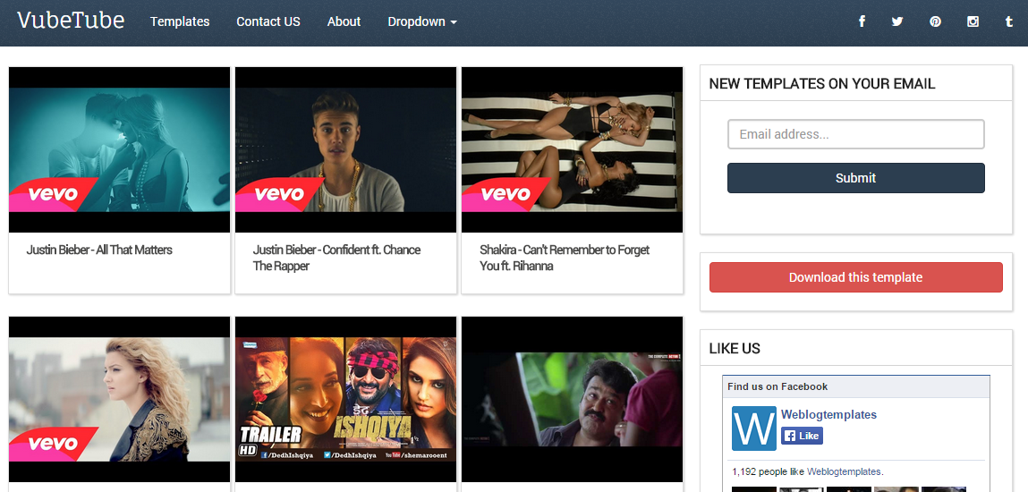 Download VubeTube Responsive Video Free Blogger Template