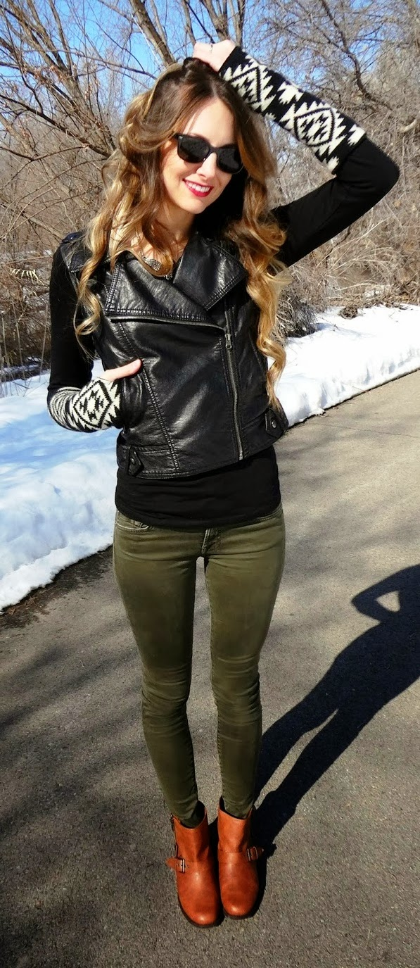 Amazing woolen sleeve leather jacket for fall
