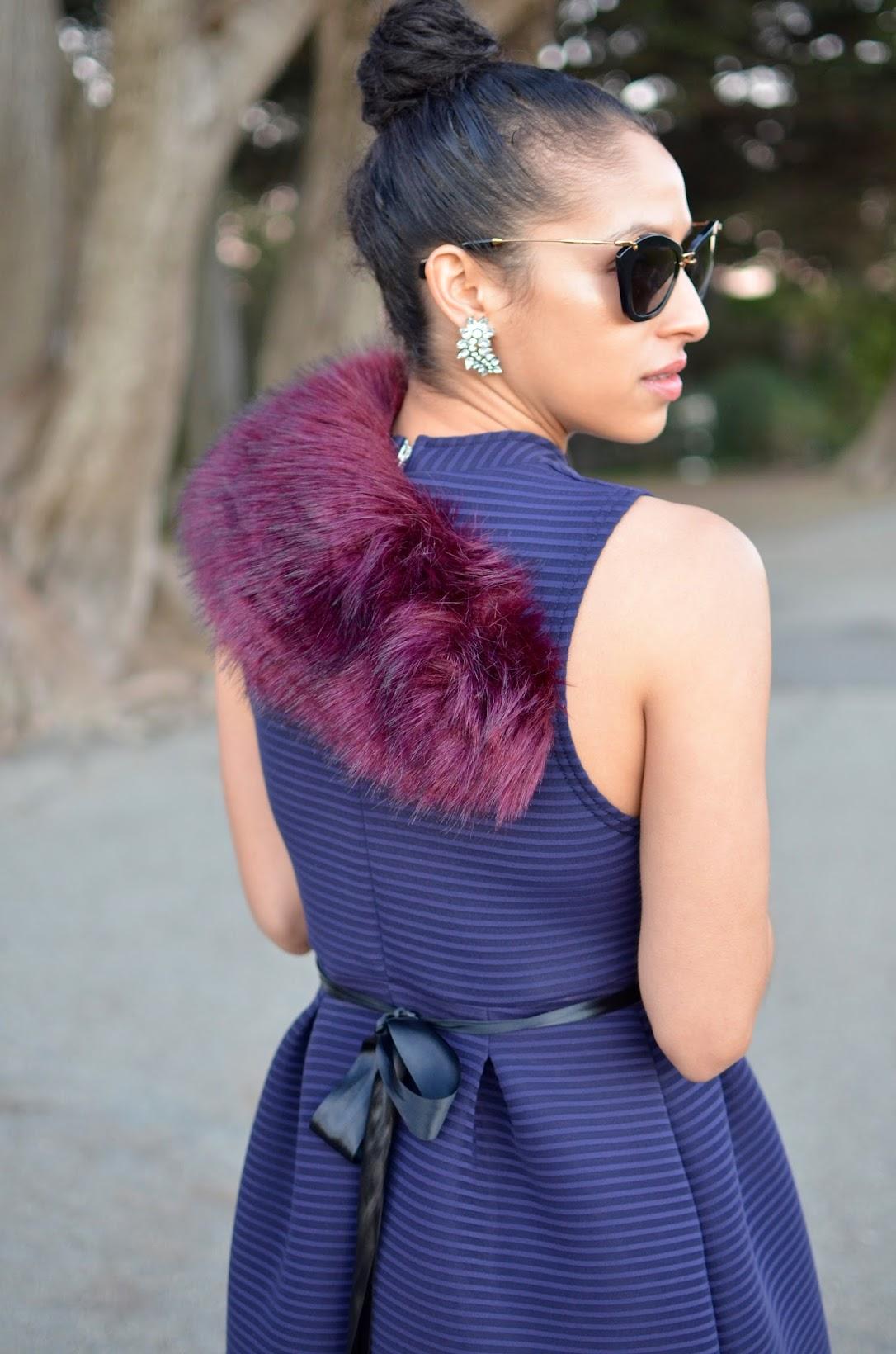 Allergic To Vanilla, boohoo dress, Sophia Webster Coco Flamingo heels, vintage earrings, ladylike dress, feminine vibe, SF style, how to style a ribbon, purple faux fur stole, Miu Miu cat-eye sunglasses