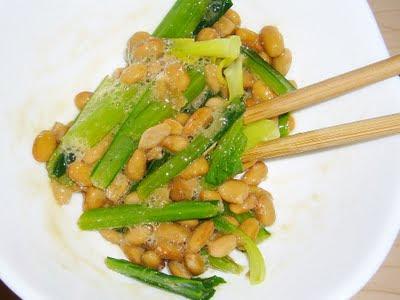 納豆に小松菜感覚