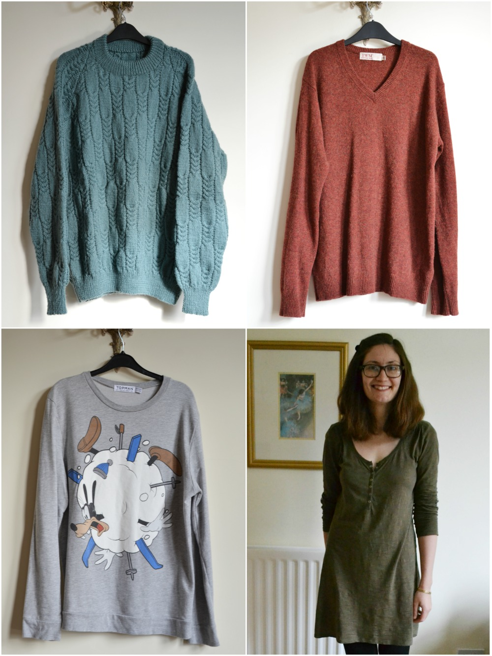sweaters jumpers wool goofy handknit disney la redoute tunic dress charity shop thrifted