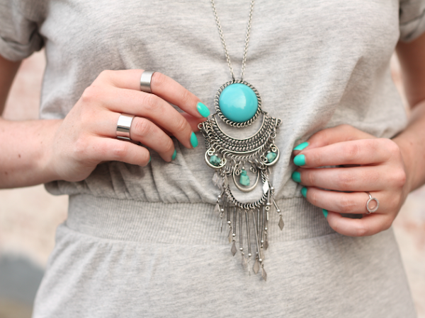 Grecian Grey with Turquoise Accents