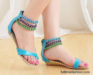 Beautiful Flat Shoes In Sky Coloyr