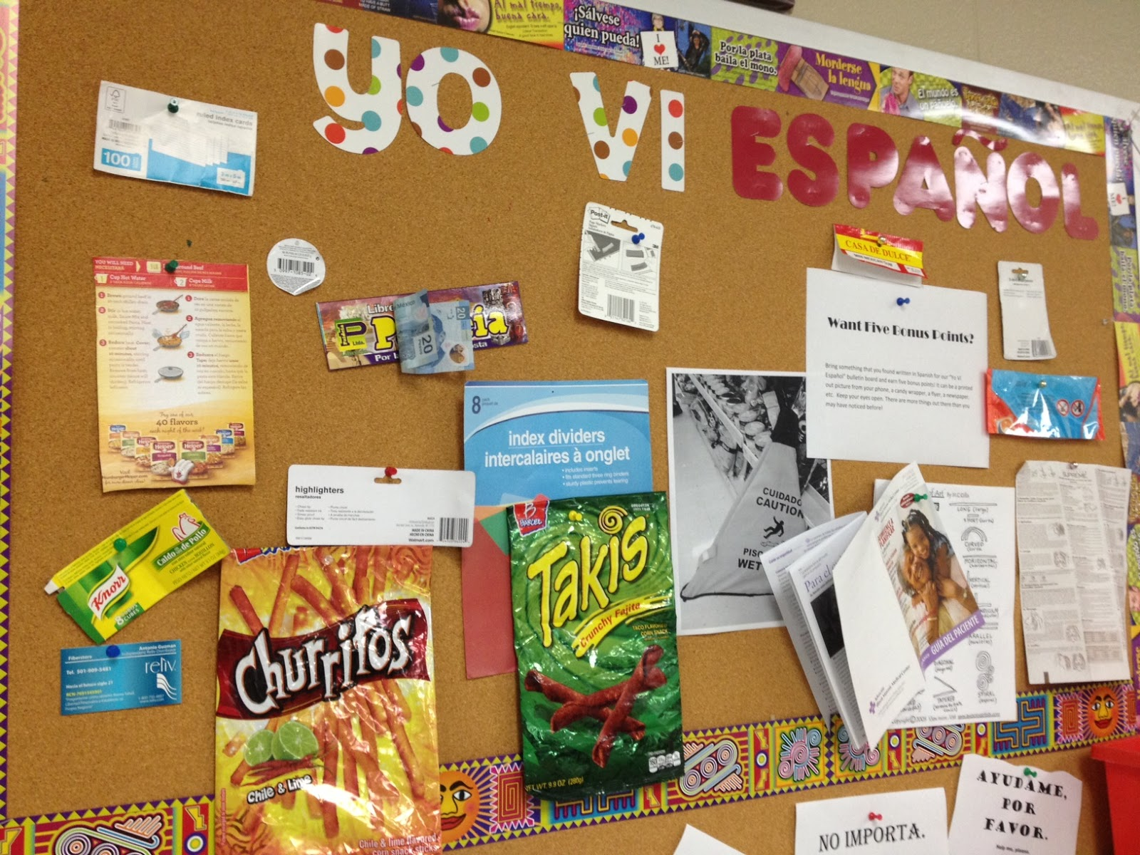 Spanish 1 Classroom Decorations ~ Yo vi espanol bulletin board ideas for the spanish classroom