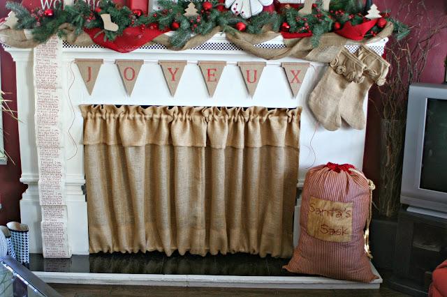 Santa Bag Burlap Banner Burlap Fireplace