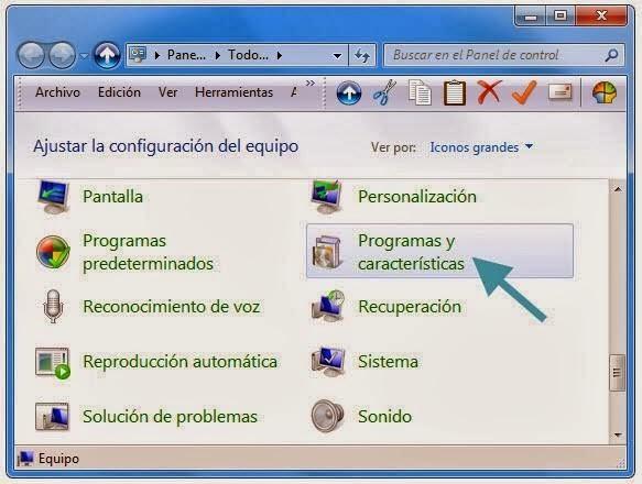 Pantalla con el icono para entrar en la opción de desinstalar programas.