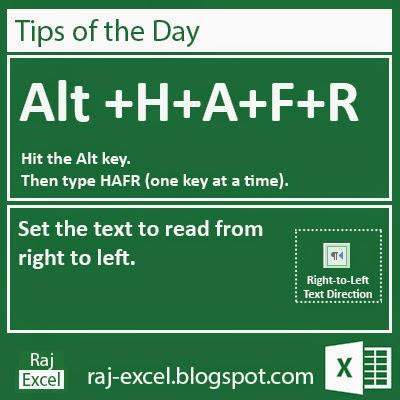 Microsoft Excel 2013 Short Cut Keys: Alt + HAFR