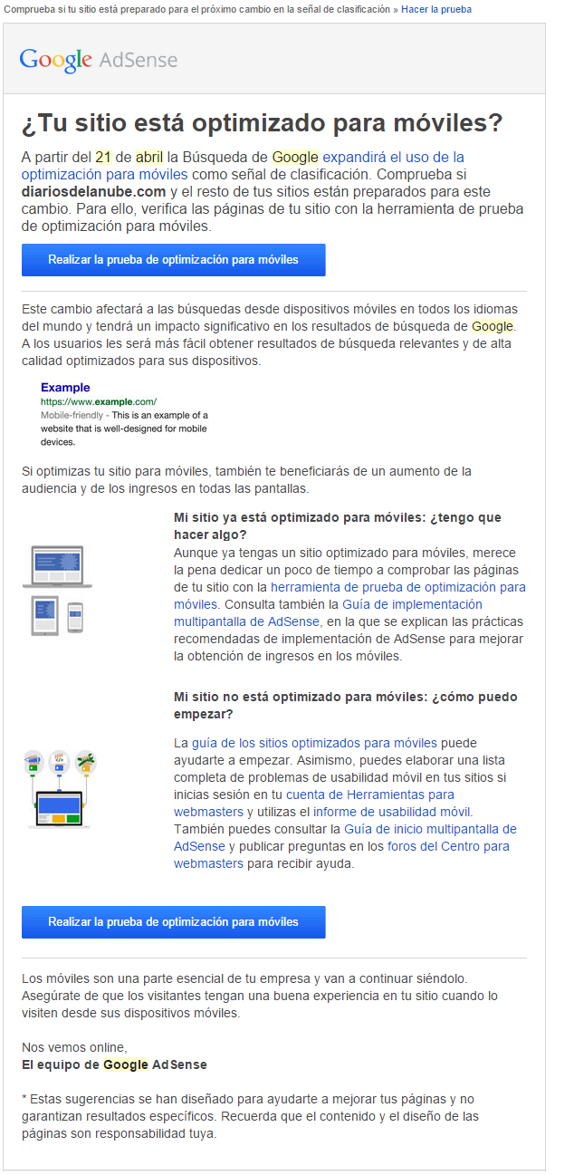 aviso para actualzación a móviles de Google