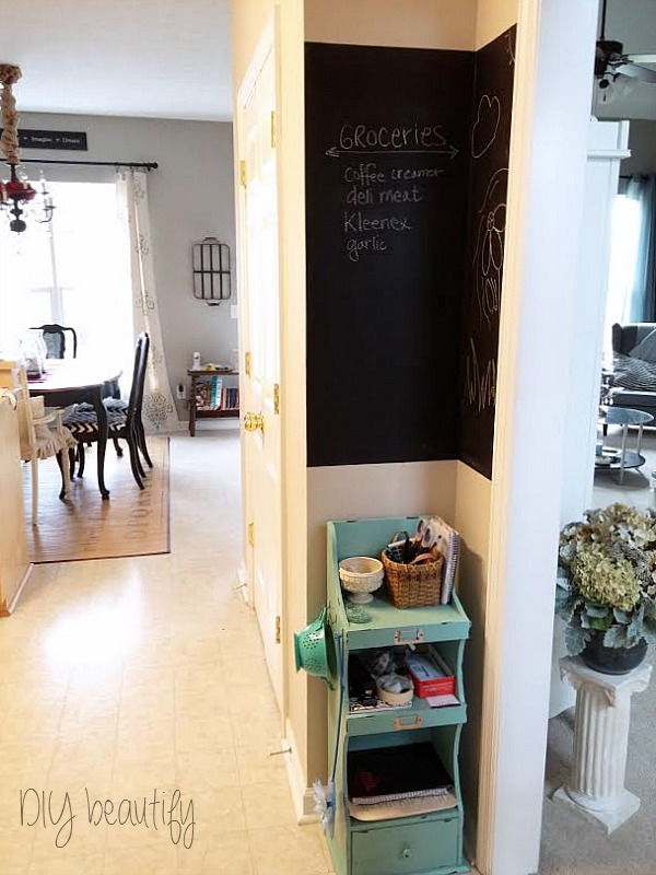 corner chalkboard wall DIY beautify
