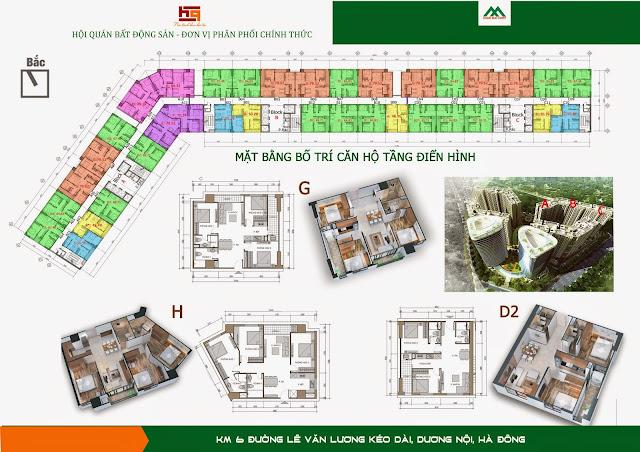Mặt bằng chung cư HH2 ABC Dương Nội