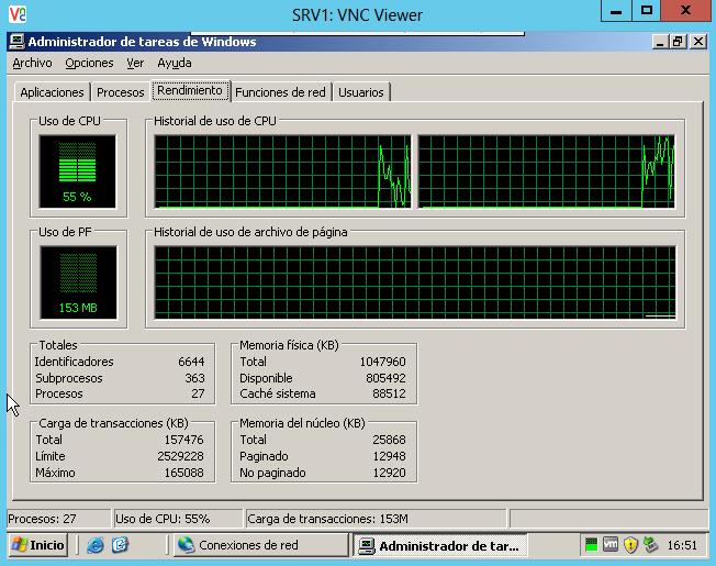 Vista de la consola de la VM desde VNC