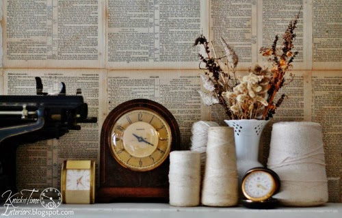 Antique Clocks and Thread Spools on Repurposed Piano Desk by knickoftimeinteriors.blogspot.com