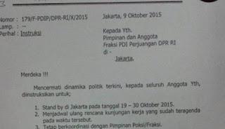 ISI SURAT  FRAKSI PDIP TIDAK BOLEH KELUAR DARI JAKARTA 19-30 OKTOBER 2015