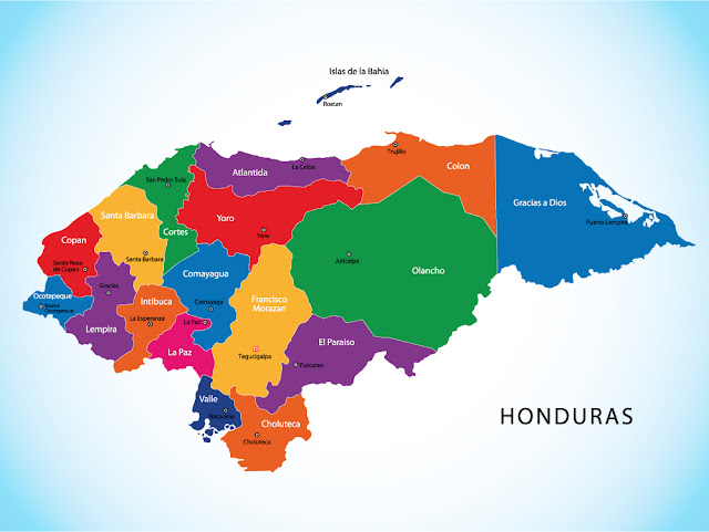 mapa división departamental de honduras