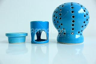 Produk gaya hidup kontemporer -Tempat Lilin + Aromaterapi Coral Blue