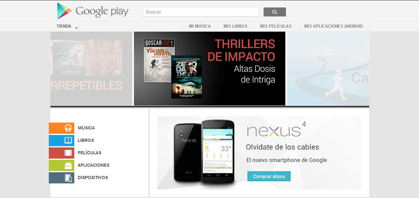 La tienda de aplicaciones Android y contenido multimedia Google Play
