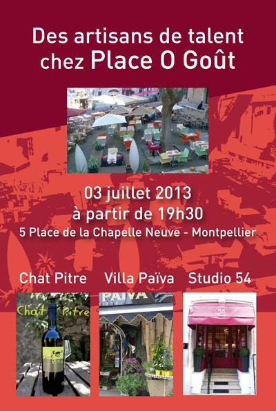 """Affiche de la soirée de présentation des artisans de talents accueillis par le restaurant """" Place O Goût"""" à Montpellier."""