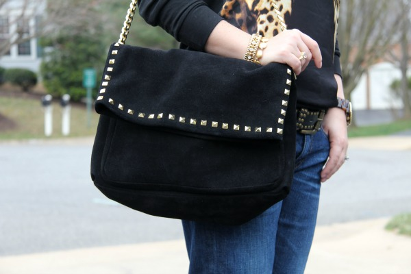 Studded Suede City Bag - Zara