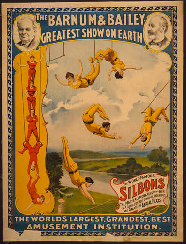 circus, classic posters, free download, graphic design, retro prints, vintage, vintage posters, The Barnum & Bailey Greatest Show on Earth - Silbons - Vintage Circus Poster