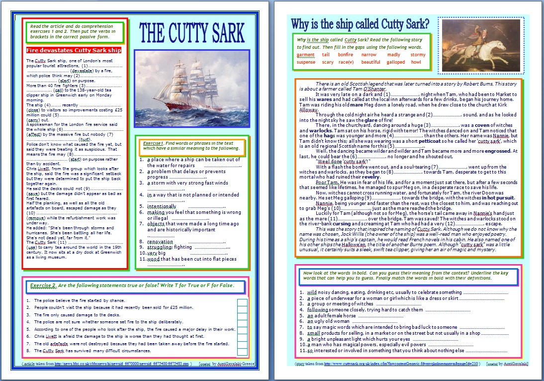 Around the World in English: The Cutty Sark (reading + passive voice)