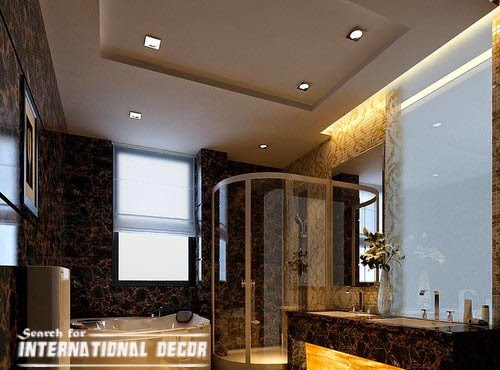 modern plasterboard ceiling designs for bathroom ceiling with backlight