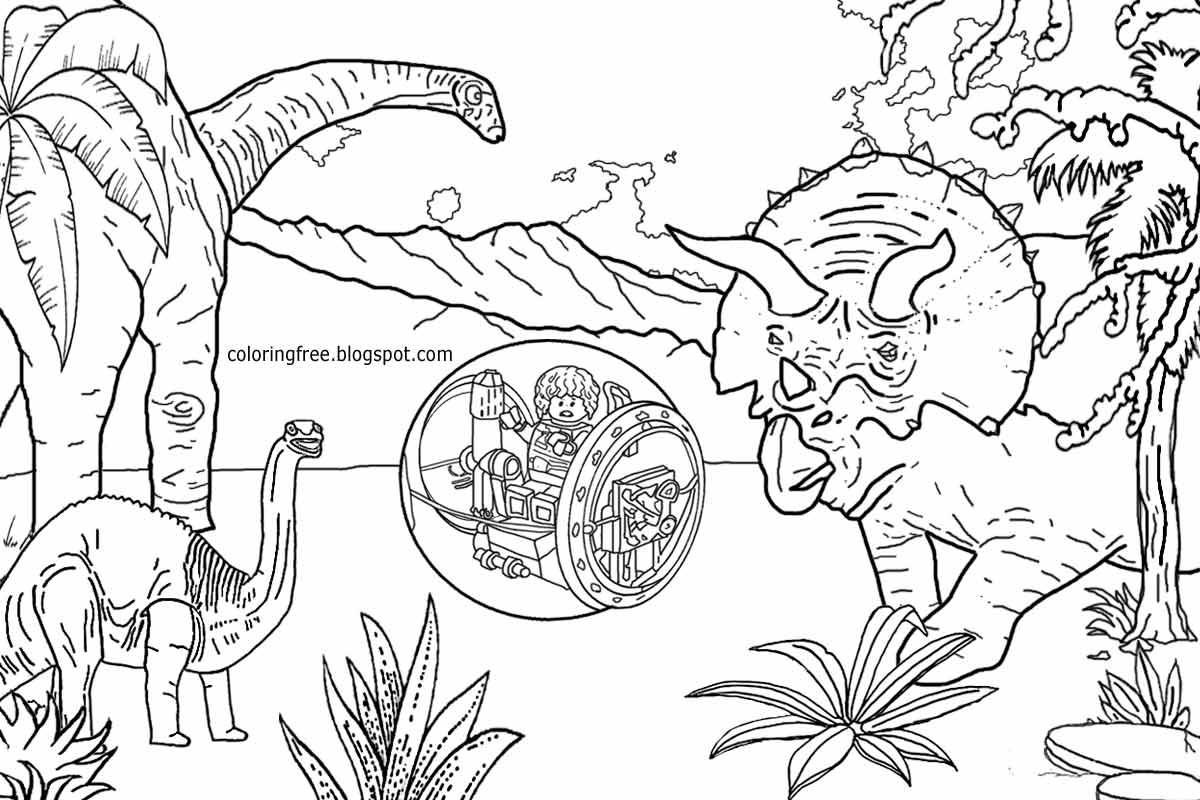 Dinosaur colouring in games - Creative Art Printable Jurassic World Lego People Realistic Dinosaur Coloring Pages For Older Kids