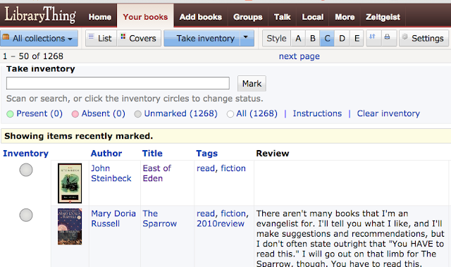 screencap LibraryThing inventory