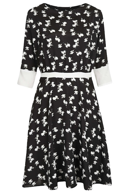 black white print dress