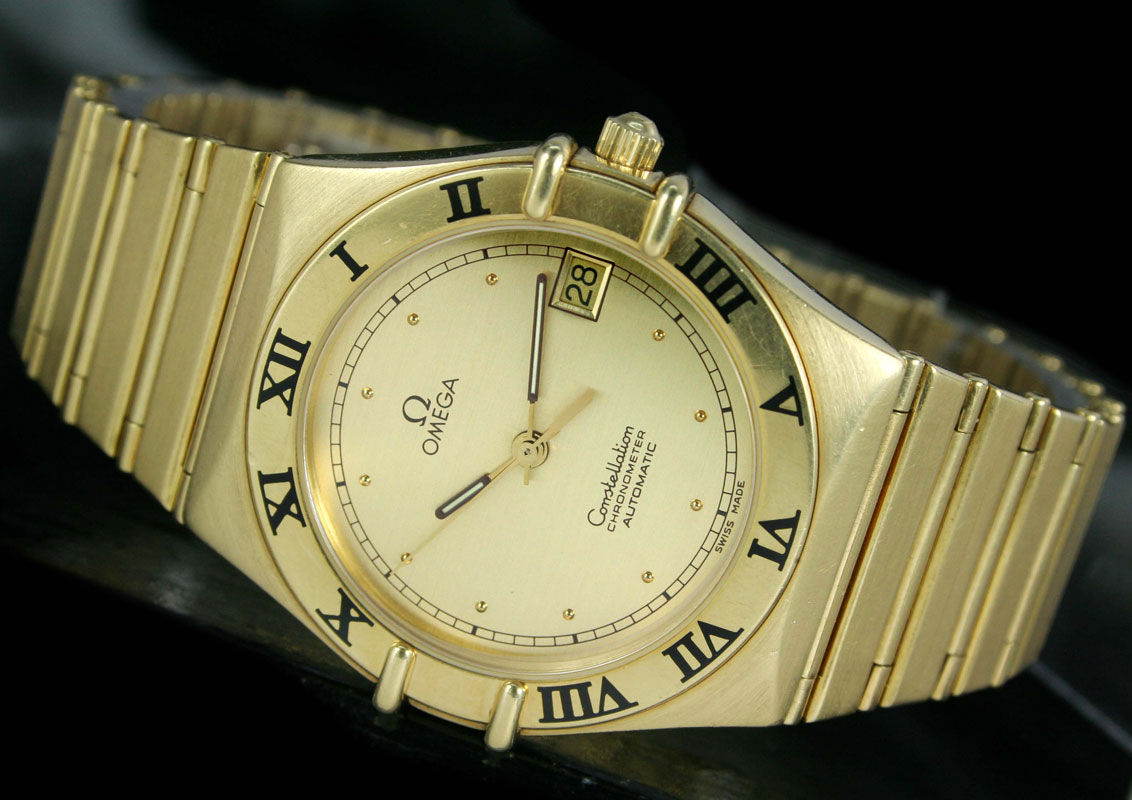 Omega Constellation Automatic Chronometer 18k Gold Mens Watch