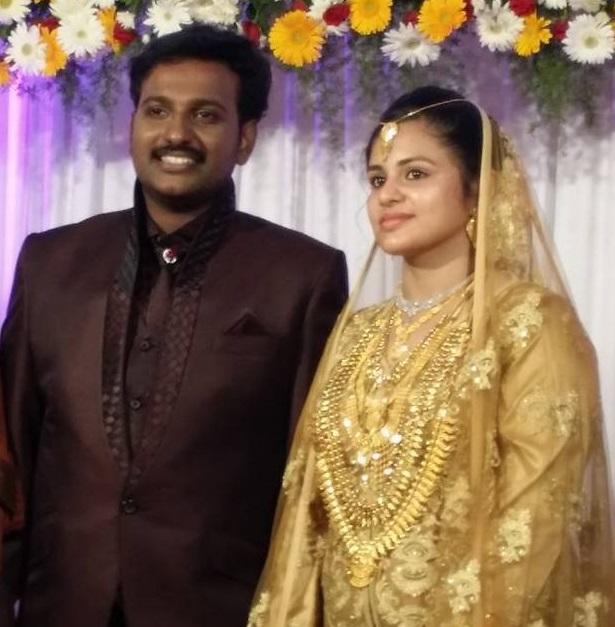 Najim and Thazni following their wedding ceremony