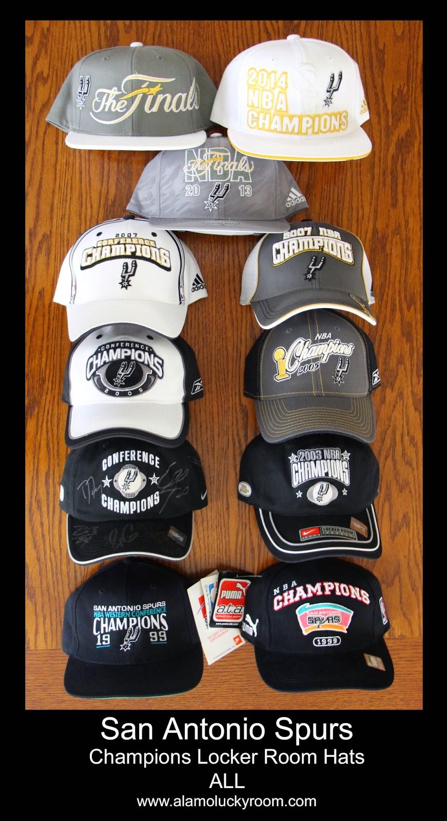 04f9248bff0 San Antonio Spurs NBA Champions Locker Room Hats ALL