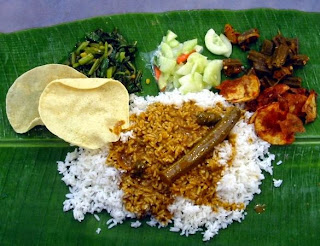 banana leaves rice, daun pisang