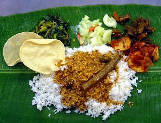 banana leaves rice, daun pisang