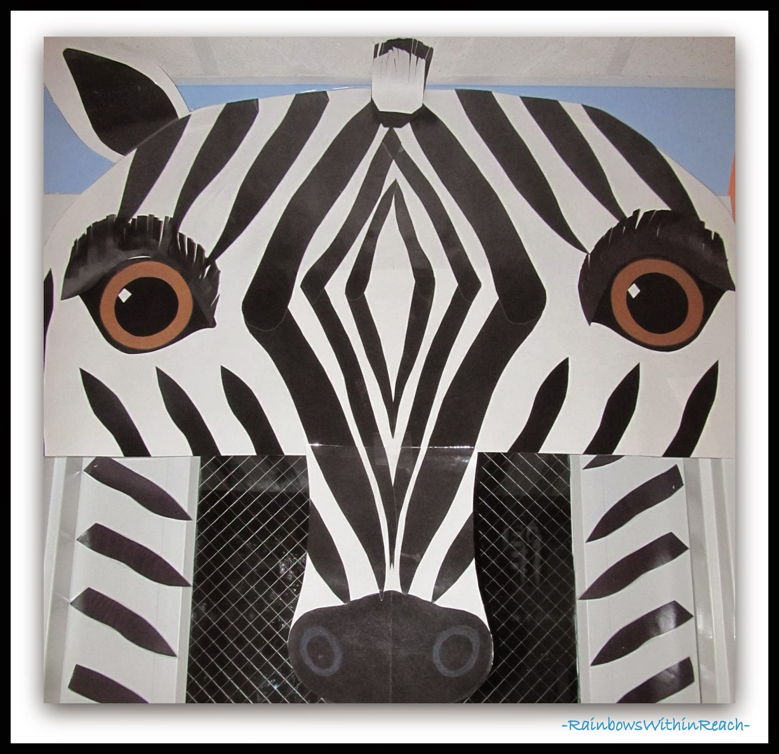 Decorated Classroom Door with Zebra Theme (face detail) via RainbowsWithinReach